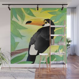 Toucan Collage and Sunrise Wall Mural