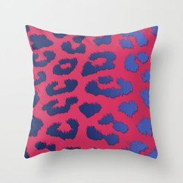 Cobalt & Navy Blue Leopard Spots on Pink Throw Pillow