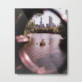 New York City Skyline Couple on a Boat in Central Park Metal Print