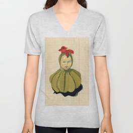 Creepiest Yet Most Wonderful Pincushion Ever in Gouache Unisex V-Neck