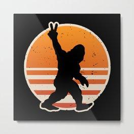 Retro Bigfoot Peace Sign Metal Print