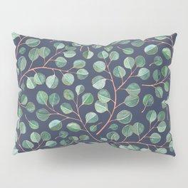 Simple Silver Dollar Eucalyptus Leaves on Navy Pillow Sham