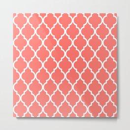 Classic Quatrefoil Lattice Pattern 727 Coral Metal Print