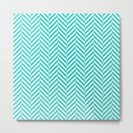 Teal white abstract geometrical chevron Metal Print