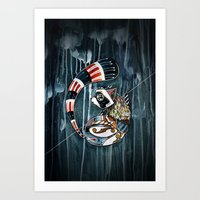 racoon Art Prints featuring Racoon by mr. louis