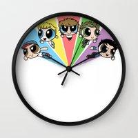 powerpuff girls Wall Clocks featuring Powerpuff!Direction by Cyrilliart