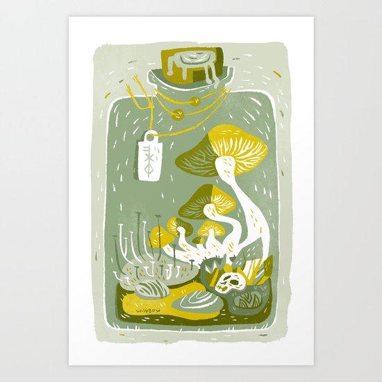 Mushroom Terrarium Art Print