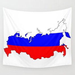 Russia Map with Russian Flag Wall Tapestry