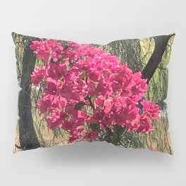 Unexpected Vibrant Pink-Magenta Flowers Under Lyrical Tree Pillow Sham