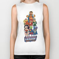 justice league Biker Tanks featuring Justice League of Muppets by JoshEssel