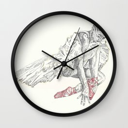 Ballerina red shoes Wall Clock