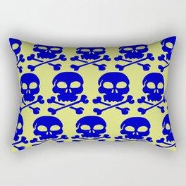 Skull Crazy- blue on green Rectangular Pillow