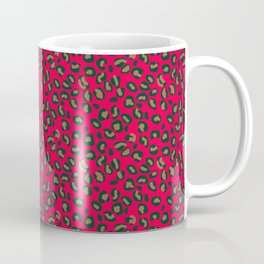 Deep Pink Rose Velvet Spotted Leopard Animal Print Pattern Coffee Mug