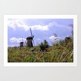 Two sisters at Kinderdijk Art Print