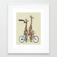 giraffe Framed Art Prints featuring giraffe days lets tandem by bri.buckley