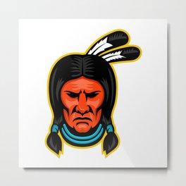 Sioux Chief Sports Mascot Metal Print