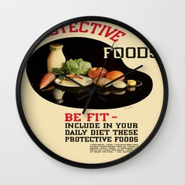 Vintage poster - Protective Foods Wall Clock