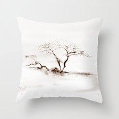 Scots Pine Sepia Throw Pillow