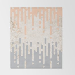 Marble and Geometric Diamond Drips, in Grey and Peach Throw Blanket