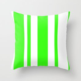 Mixed Vertical Stripes - White and Neon Green Throw Pillow