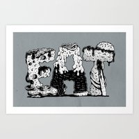 lettering Art Prints featuring EAT - Lettering by gatotonto