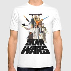 Star War Action Figures Poster White MEDIUM Mens Fitted Tee