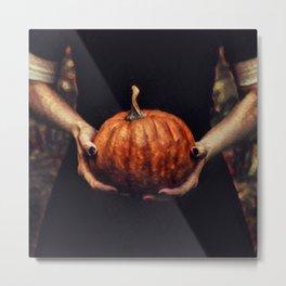Girl Holding A Pumpkin 2 Metal Print