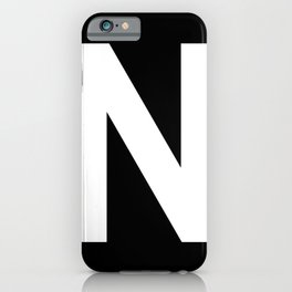 Letter N (White & Black) iPhone Case