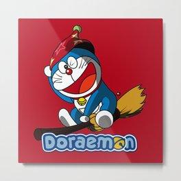 Santa Doraemon 2 Metal Print