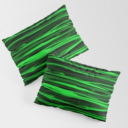 Lime Green and Black Stripes Pillow Sham