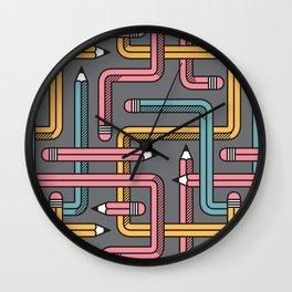 Pencil Maze Pattern pastel grey multi Wall Clock