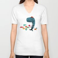 fish V-neck T-shirts featuring My Pet Fish by Picomodi