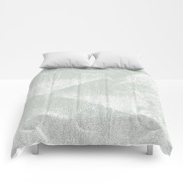 Gray Green and White Geometric Ink Texture Comforters
