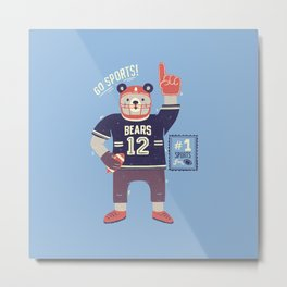 American Football Bear Metal Print