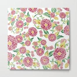 Camellia Japonica Floral Pattern Metal Print