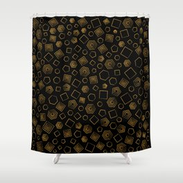 Polygons on Black background Shower Curtain