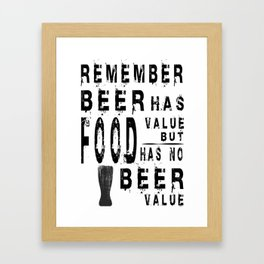 beer food - I love beer Framed Art Print