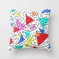 90s Throw Pillows featuring 90s pattern by molly ennis
