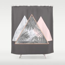 BLUSH GRAY COPPER MARBLE GEOMETRIC PATTERN Shower Curtain