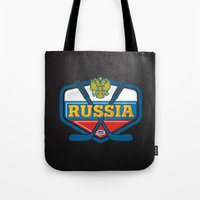 hockey Tote Bags featuring HOCKEY by frail