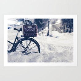 Milk Crate on Bike in Snow Art Print