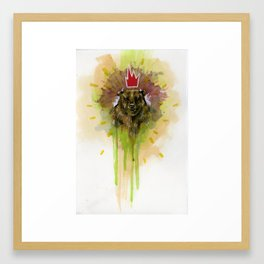 Bear with Red Crown Framed Art Print