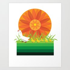 Mother Goose and her little gooses Art Print