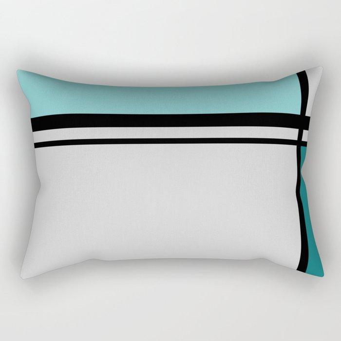 Cross Lines in turquoises Rectangular Pillow