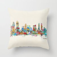san diego Throw Pillows featuring San Diego California skyline by bri.buckley