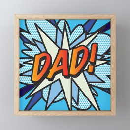 DAD Comic Book Superhero Cool Blue Pop Art  Framed Mini Art Print