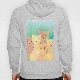 Alpaca Family I - Mint Green Snow Background Hoody