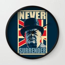 Winston Churchill Never Surrender Wall Clock
