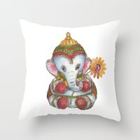 ganesh Throw Pillows featuring Ganesh by coconuttowers