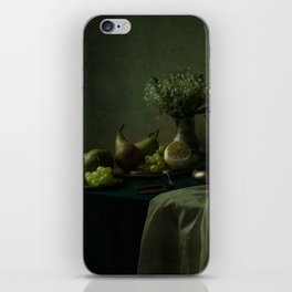Still life with metal dishes, fruits and fresh flowers iPhone Skin